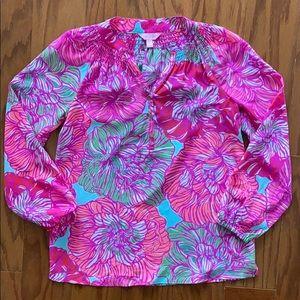Lilly Pulitzer Floral Print Silk Elsa Shirt